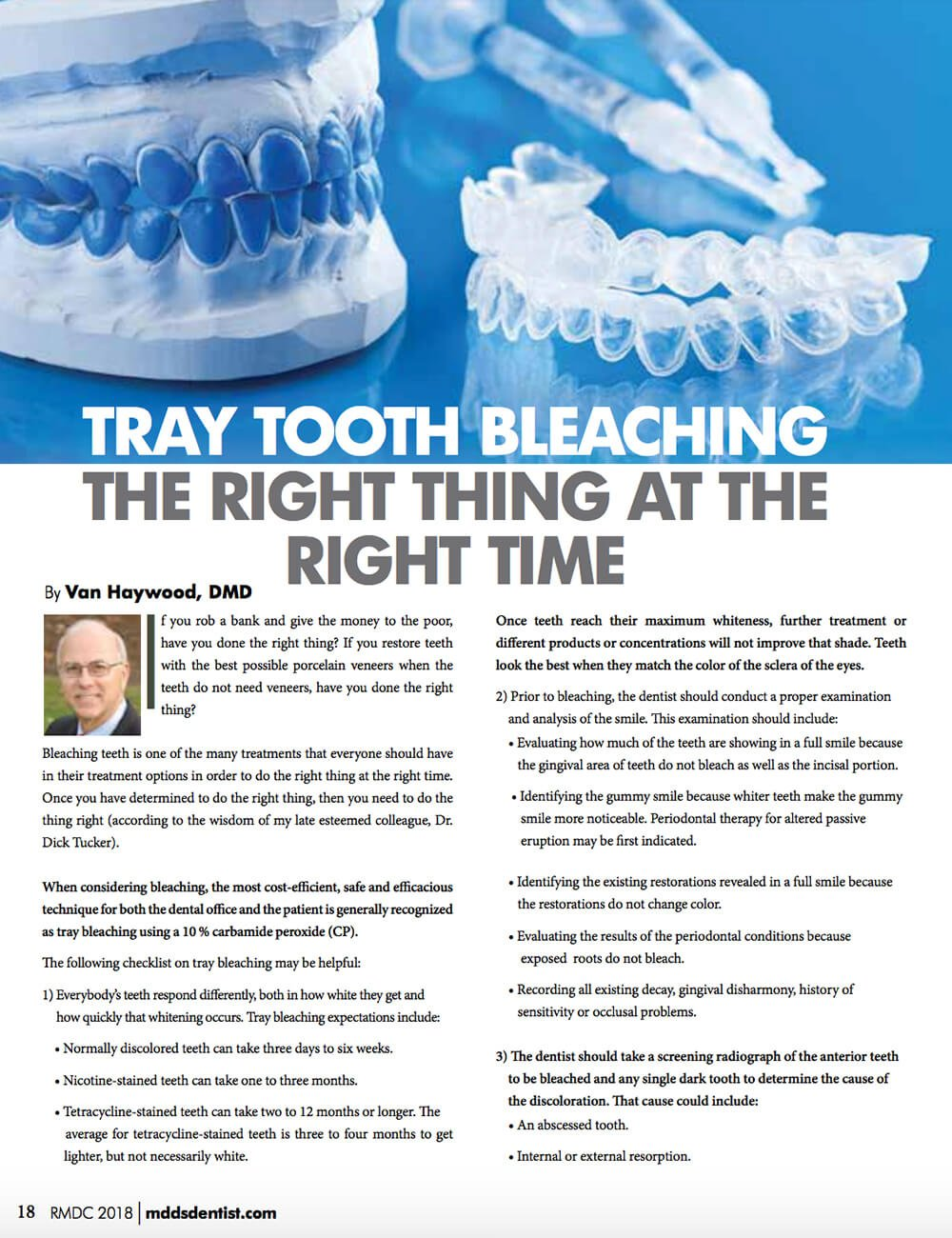 Article on Tray Tooth Bleaching - The Right Thing At the Right Time