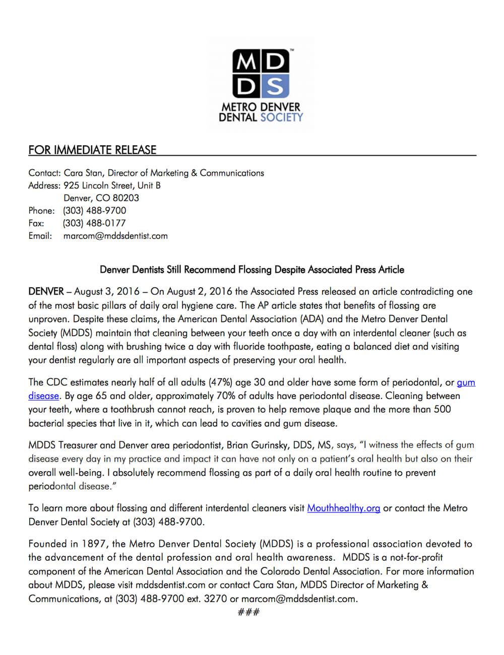 Press Release - Denver Dentists Still Recommend Flossing Despite Associated Press Article