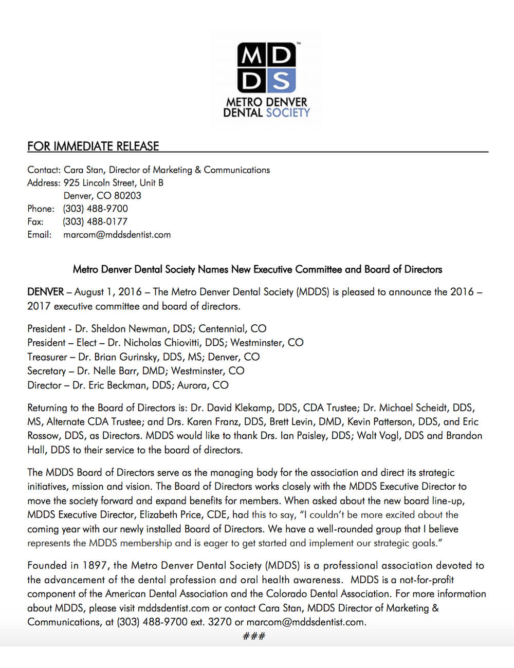 Press Release - Metro Denver Dental Society Names New Executive Committee and Board of Directors