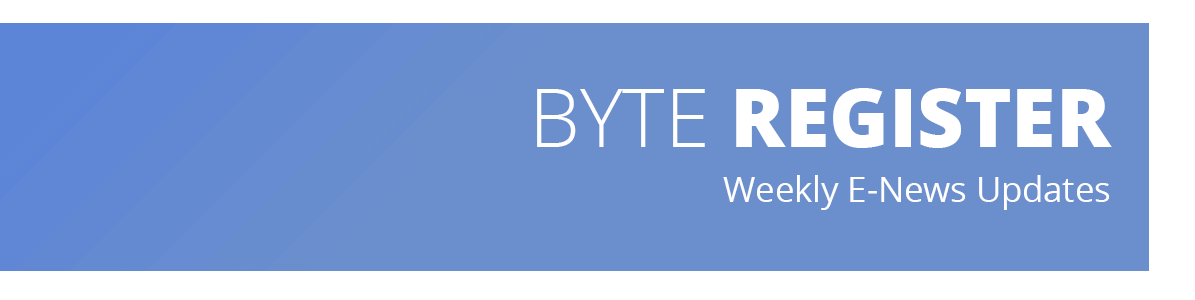 Image describes that the web page contains advertising and subscription information about the weekly e-newsletter, Byte Register.