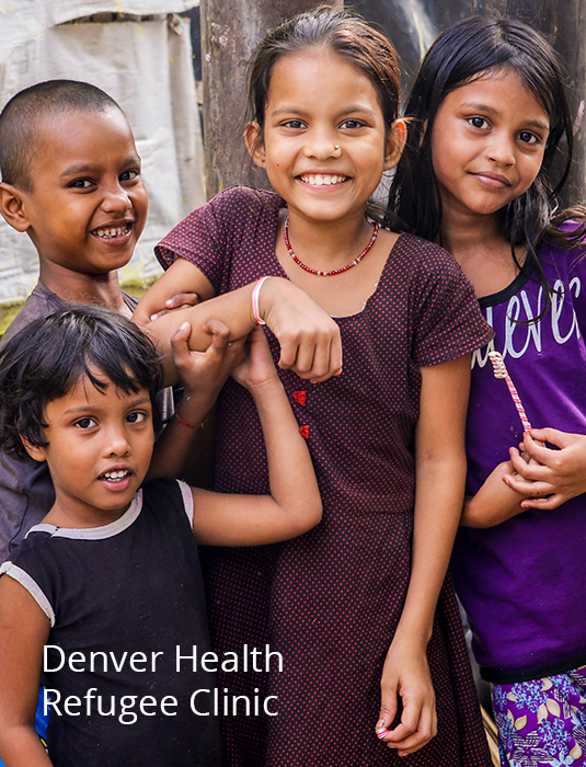 Image prompts you click if you want more information on volunteering at the Denver Health Refugee Clinic