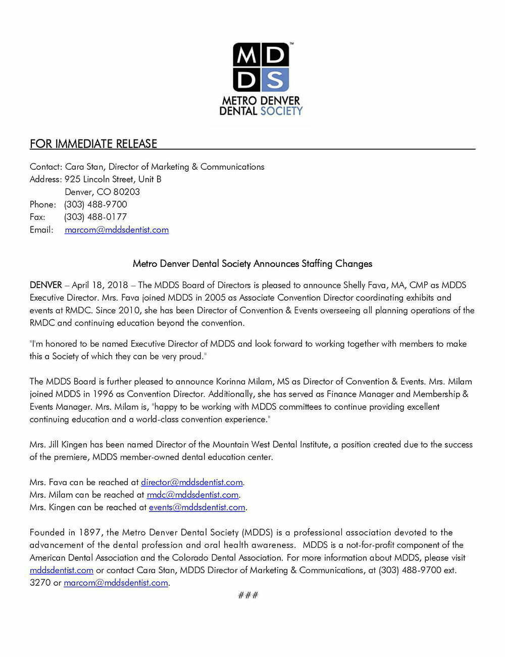 Press Release: Metro Denver Dental Society Announces Staffing Changes