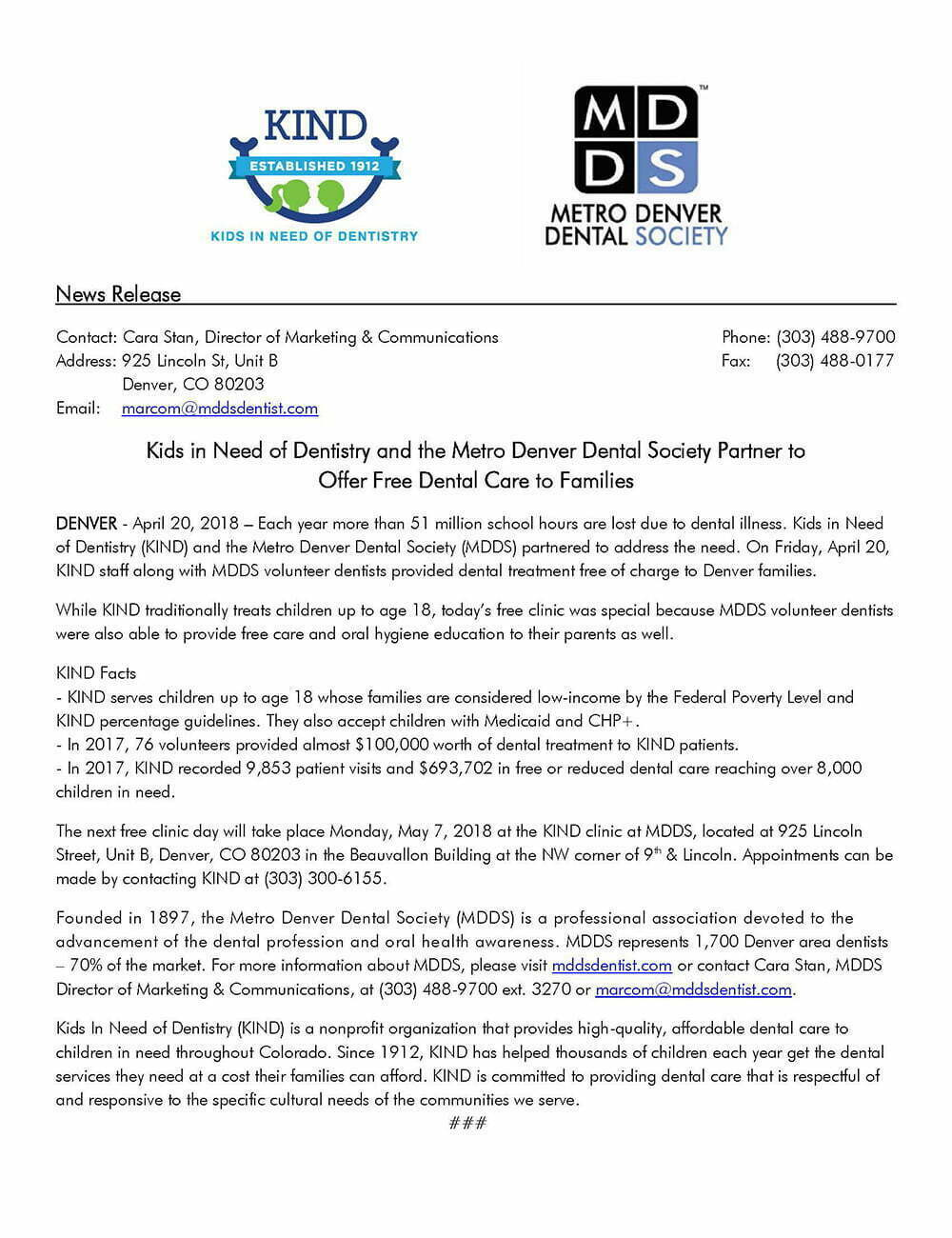 Press Release: Metro Denver Dental Society Names New Standing Officers and Board of Directors