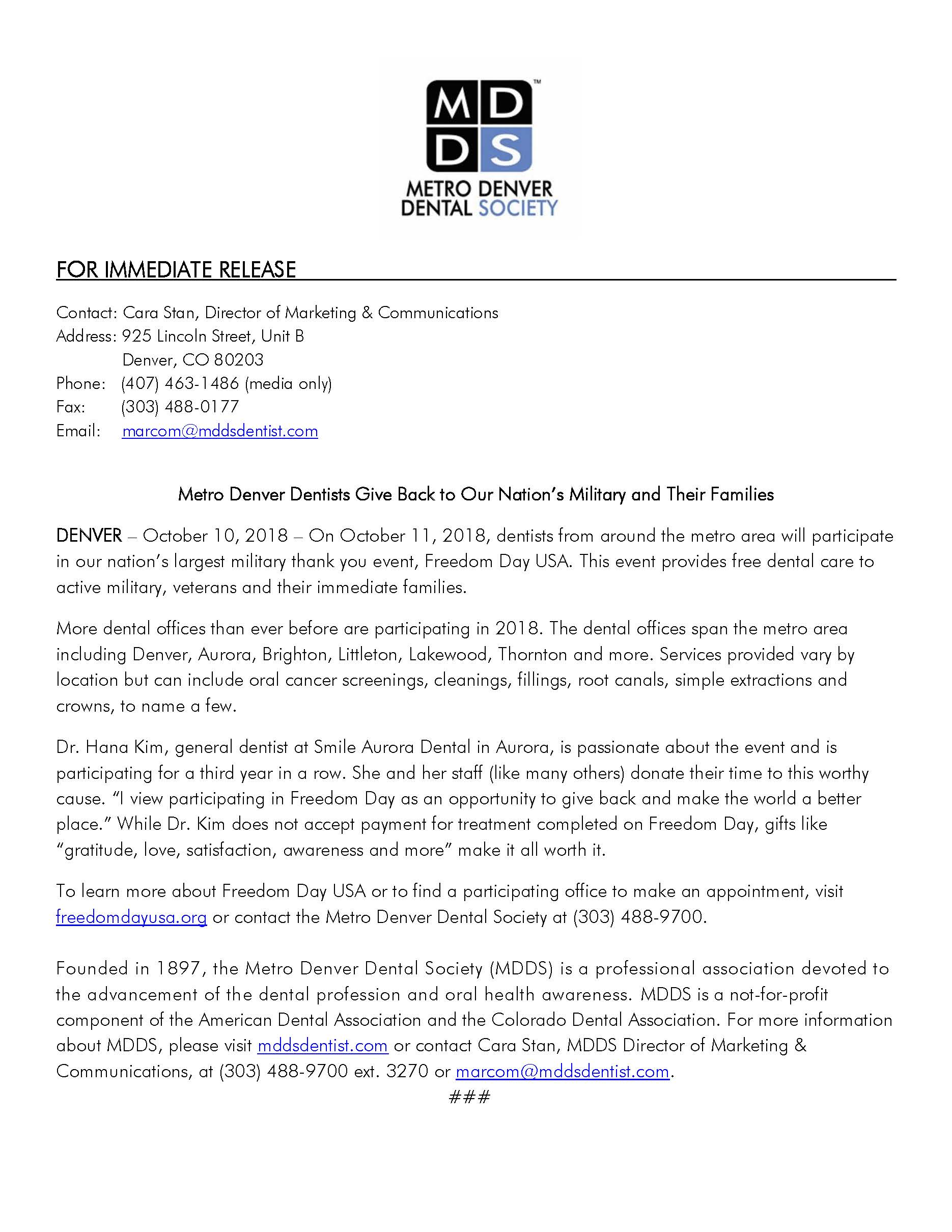Press Release: Kids in Need of Dentistry and the Metro Denver Dental Society Partner to Offer Free Dental Care to Families