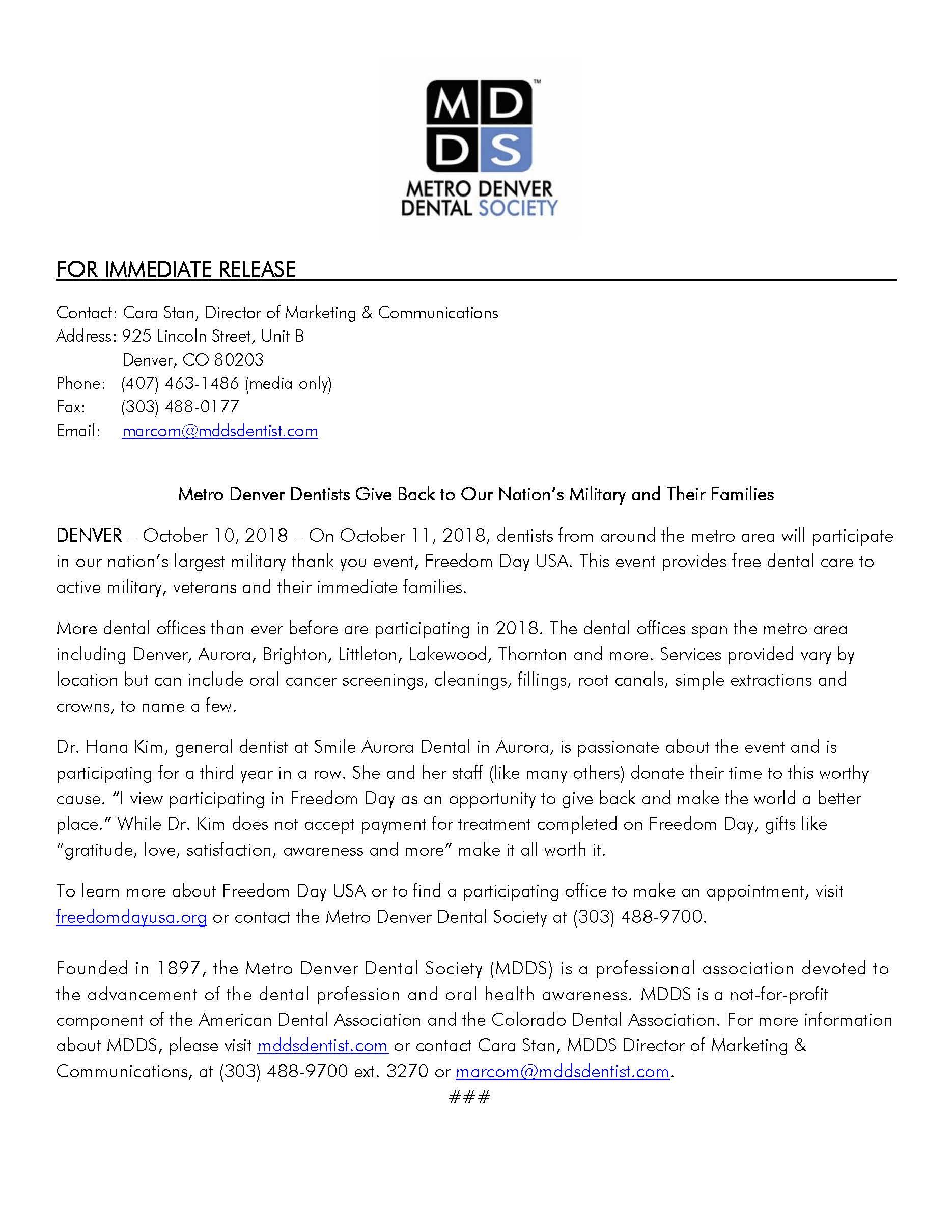 MDDS News, Media & Updates - Metro Denver Dental Society