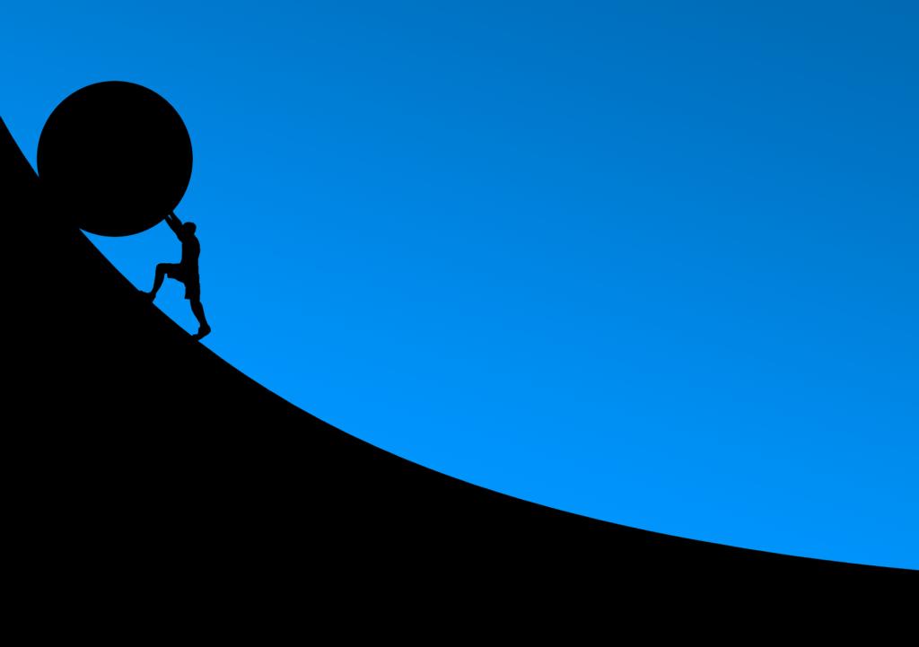 illustration pushing boulder put hill